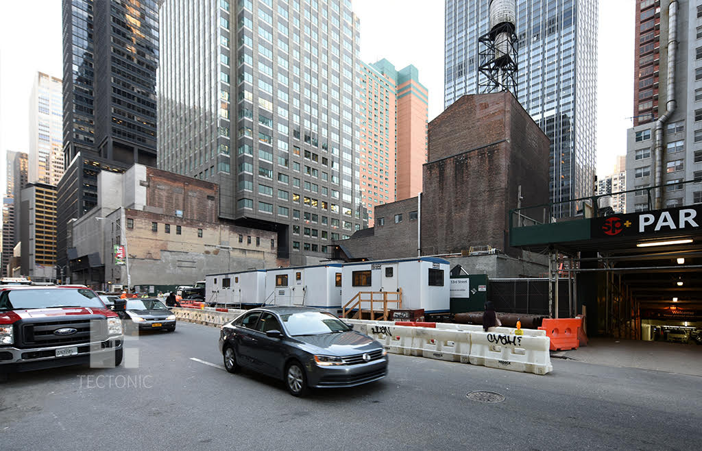 Construction at 242 West 53rd Street, as seen from 53rd Street. Photo by Tectonic.