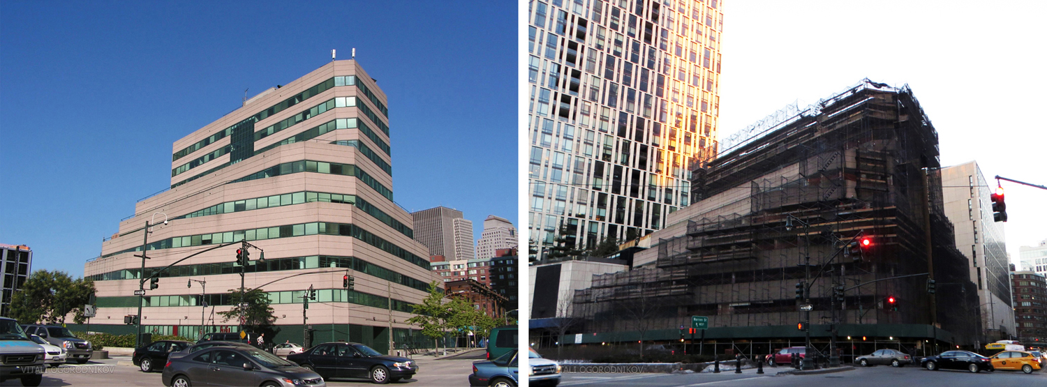 101 Murray Street. Looking east from West Street. Left: 2006. Right: February 2015