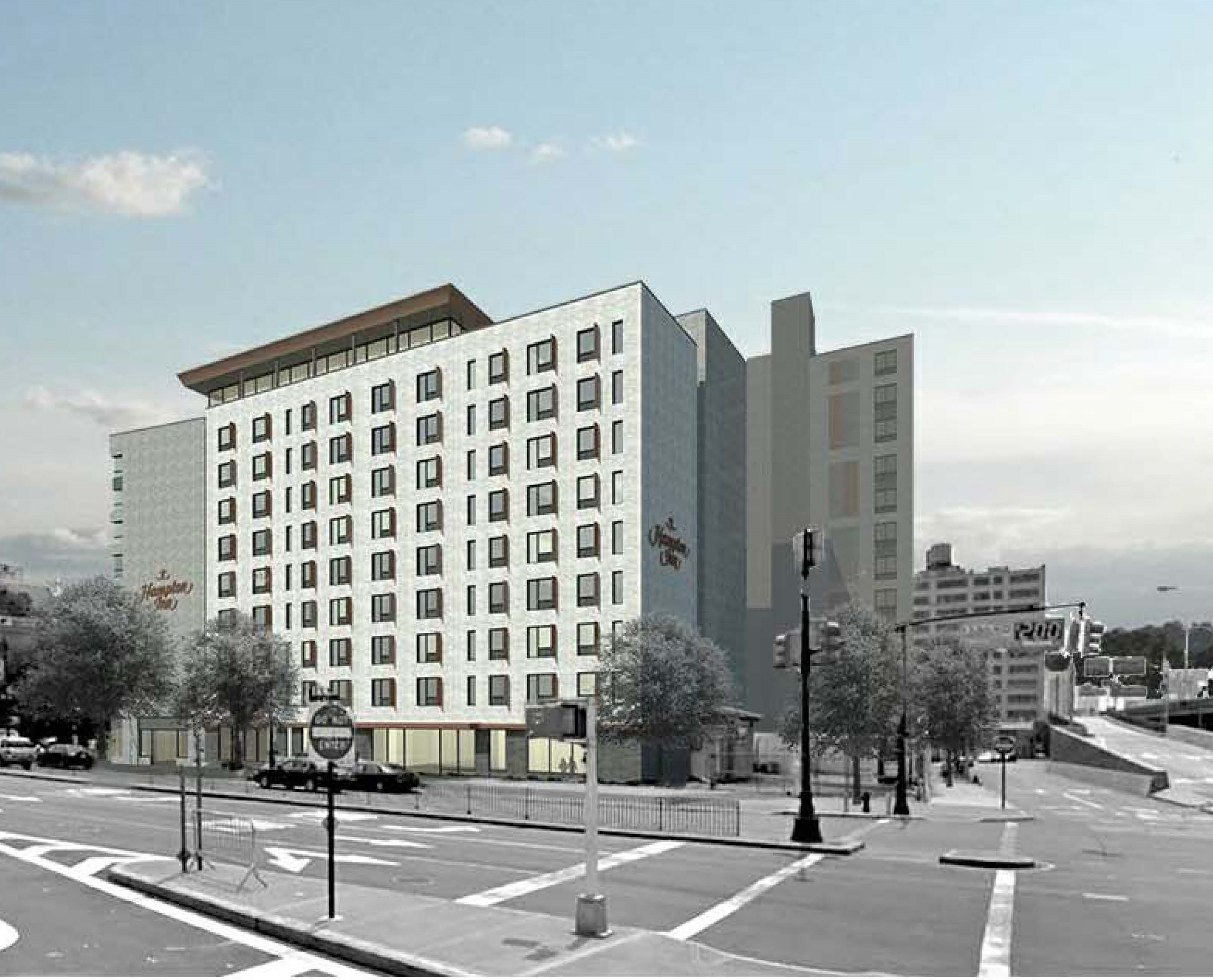 Former renderings illustrate the cancelled Hampton Inn at 110 East 149th Street (Dattner Architects)