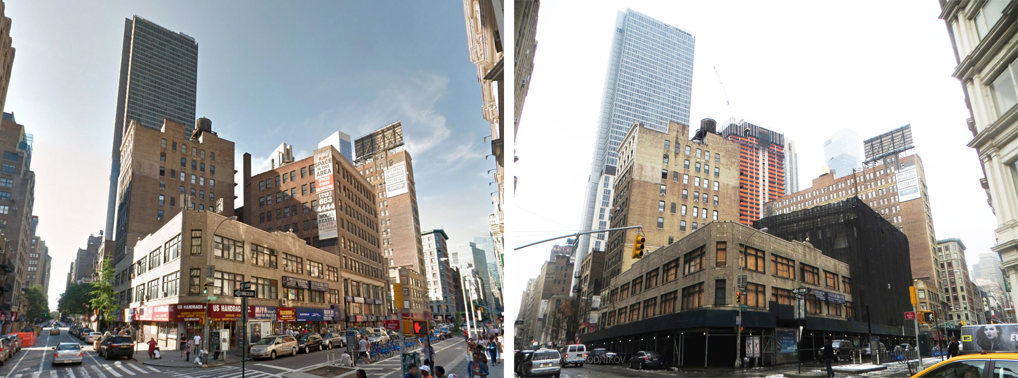 1205, 1225 and 1227 Broadway. Looking northwest from West 29th Street and Broadway. Left: August 2013 (image from Google). Right: January 2015