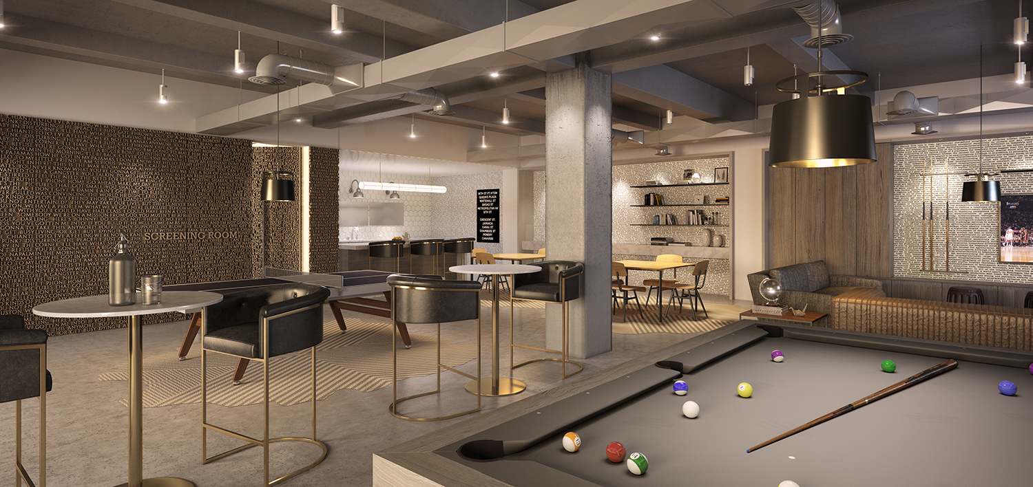 Rendering of the lounge at 88 & 90 Lexington Avenue.