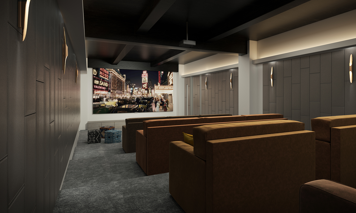 Rendering of the screening room at 88 & 90 Lexington Avenue.