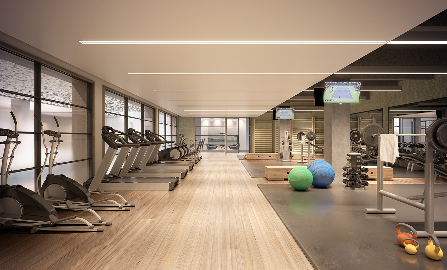 Rendering of the gym at 88 & 90 Lexington Avenue.