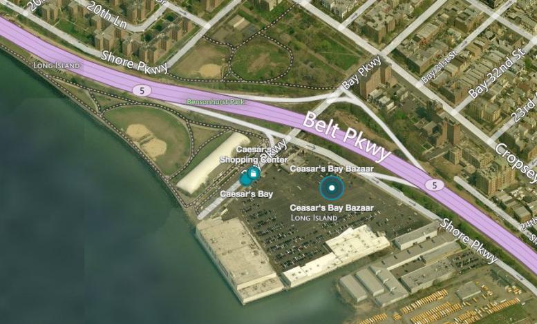 Ceasar's Bay Shopping Center, image via Bing Maps