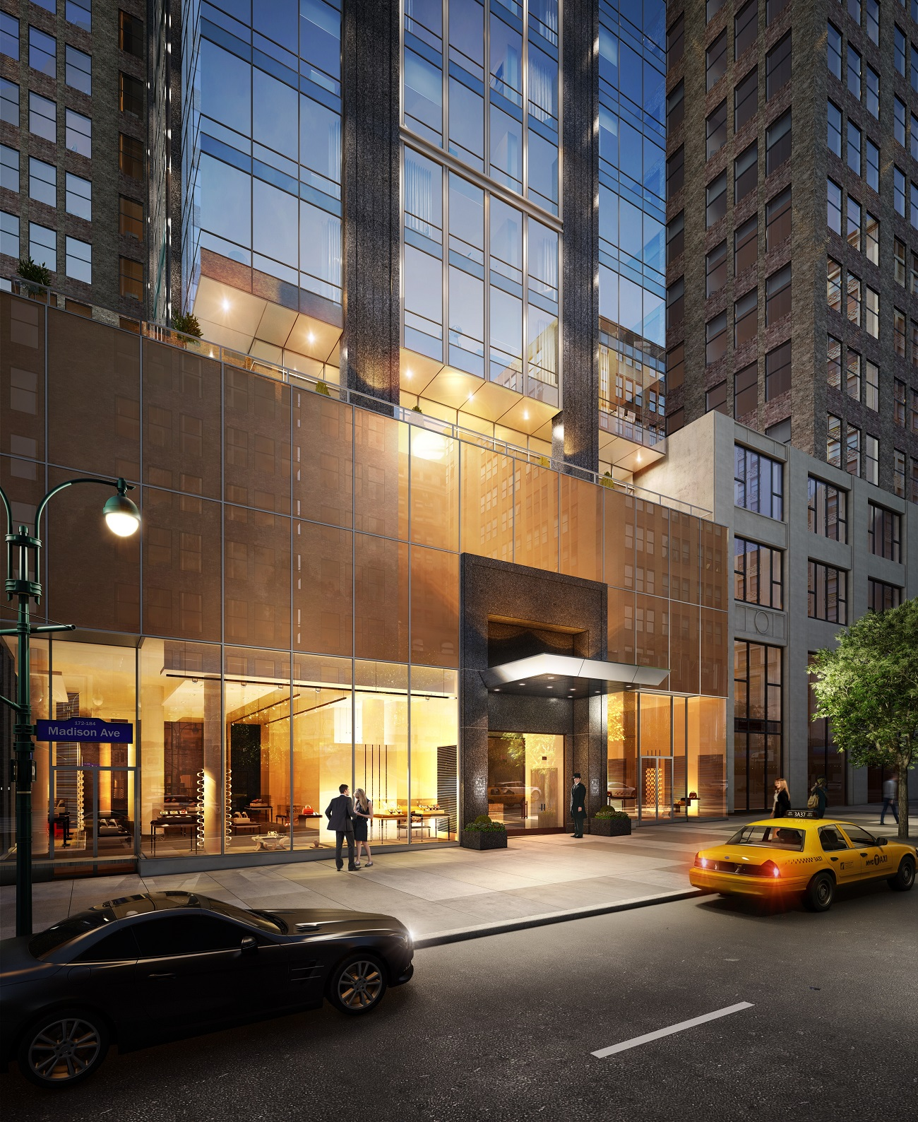 Rendering of the entry at 172 Madison Avenue.