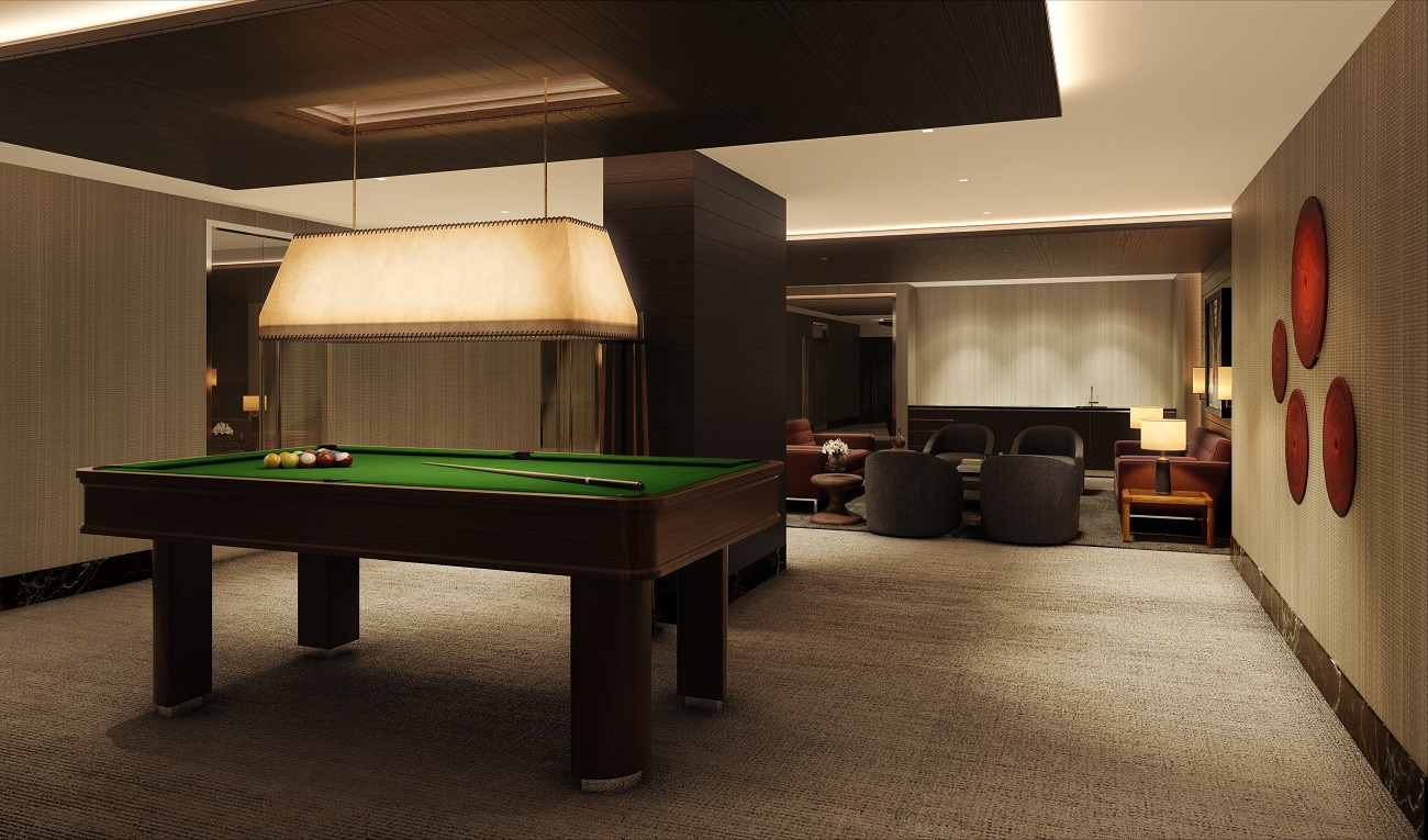 Rendering of the residents lounge at 172 Madison Avenue.