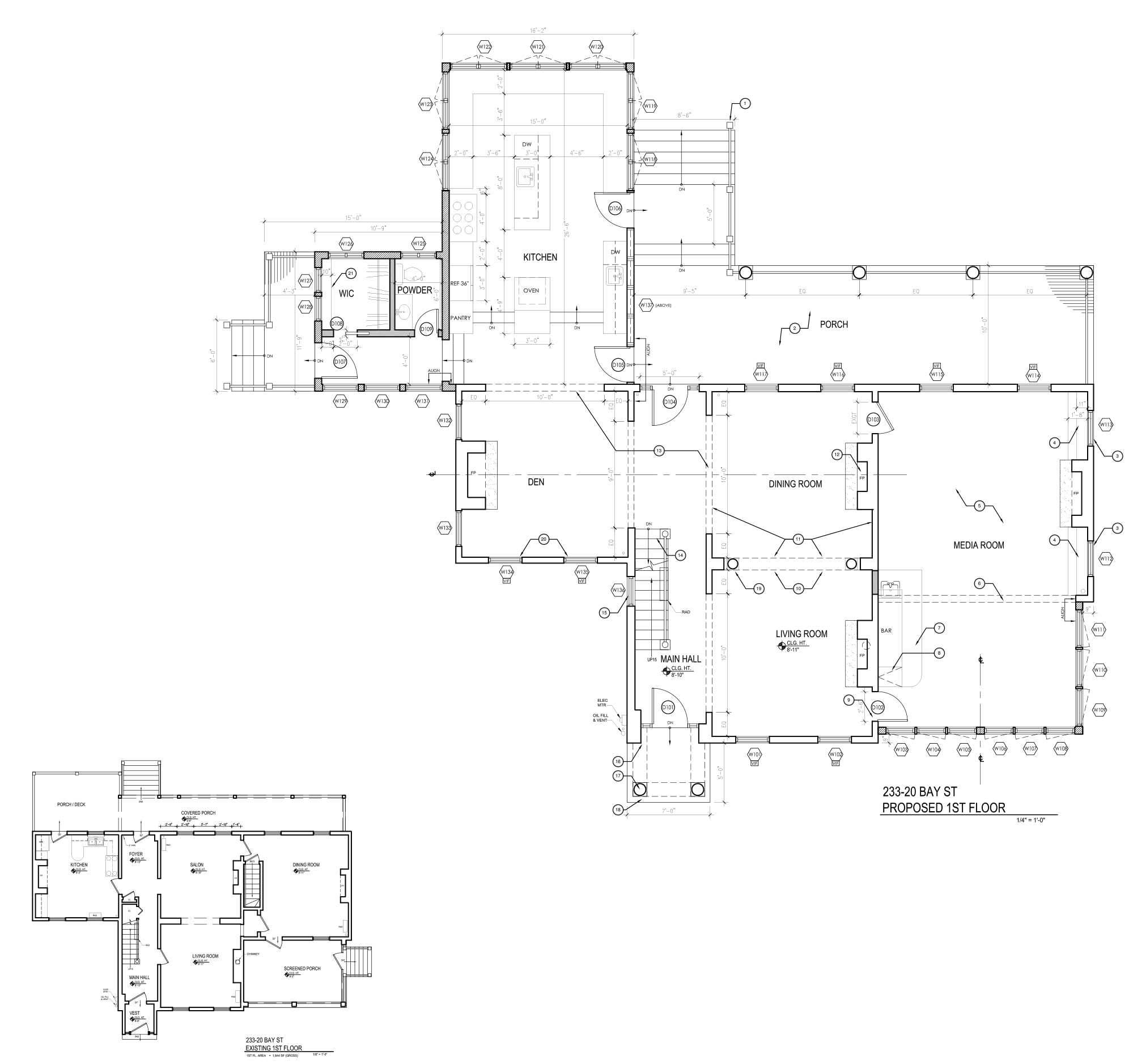 233-20 Bay Street, current and proposed first floor plans.