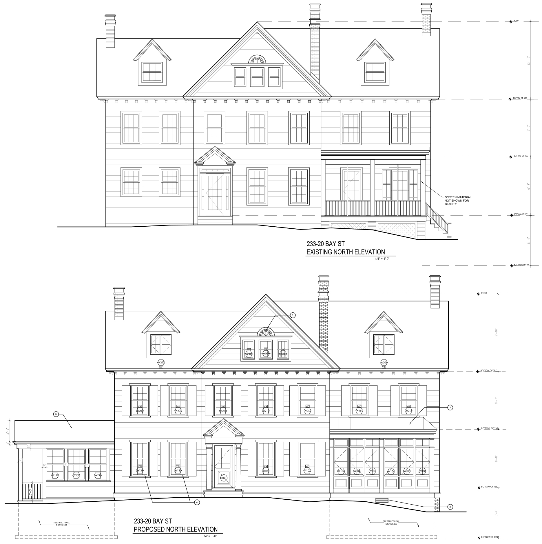 233-20 Bay Street, current and proposed front plans.