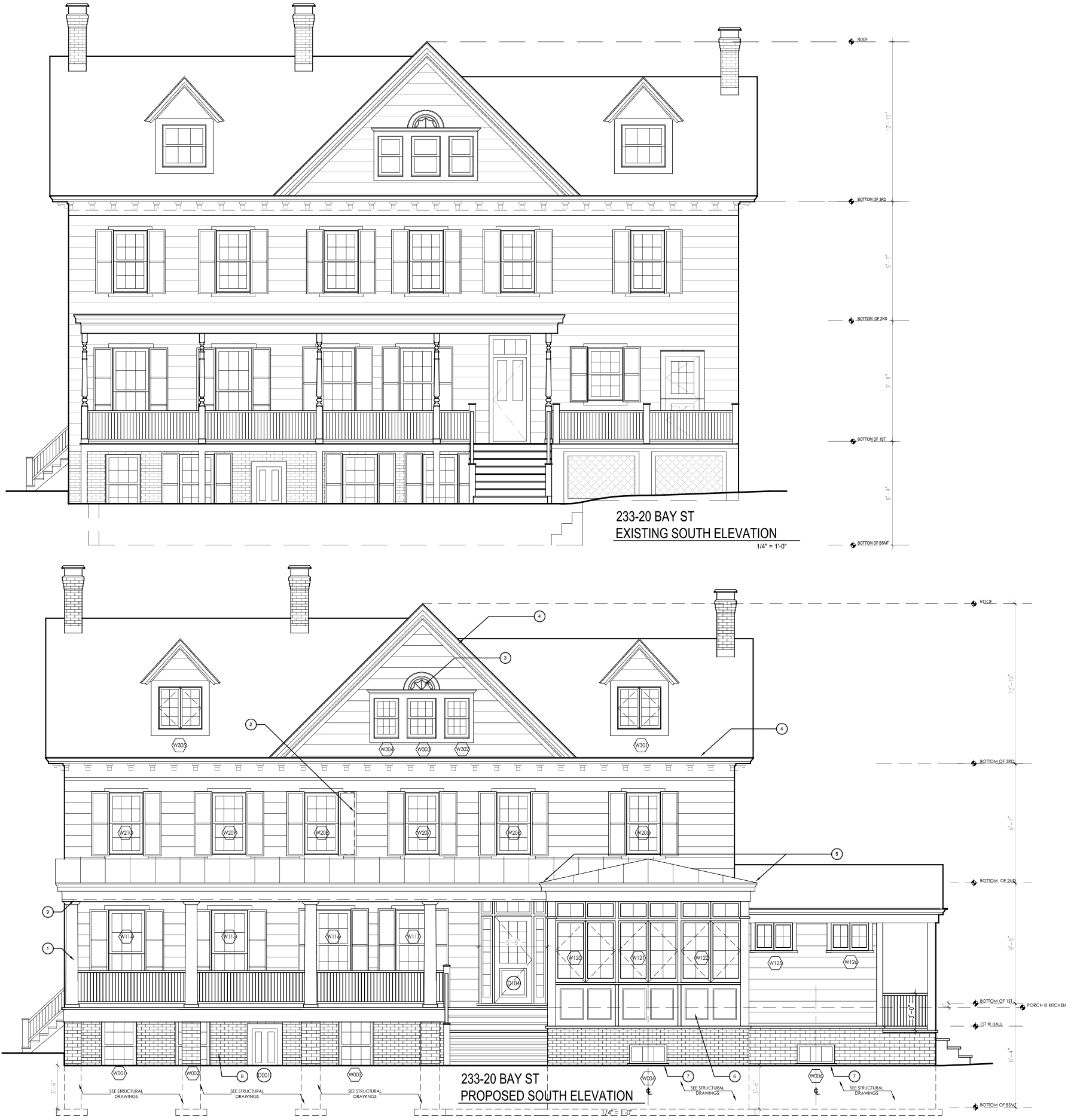 233-20 Bay Street, current and proposed rear plans.