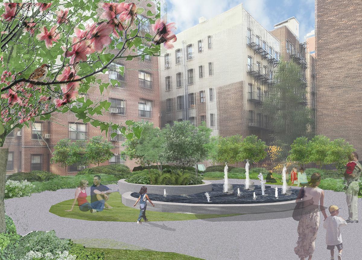 Second floor roof garden at 711 West End Avenue, rendering via P2B Ventures