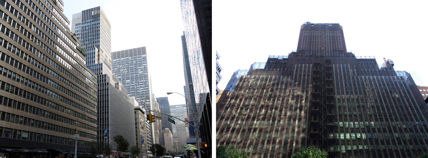 425 Park Avenue; Left: 2014, looking south. Right: November 2015, looking east