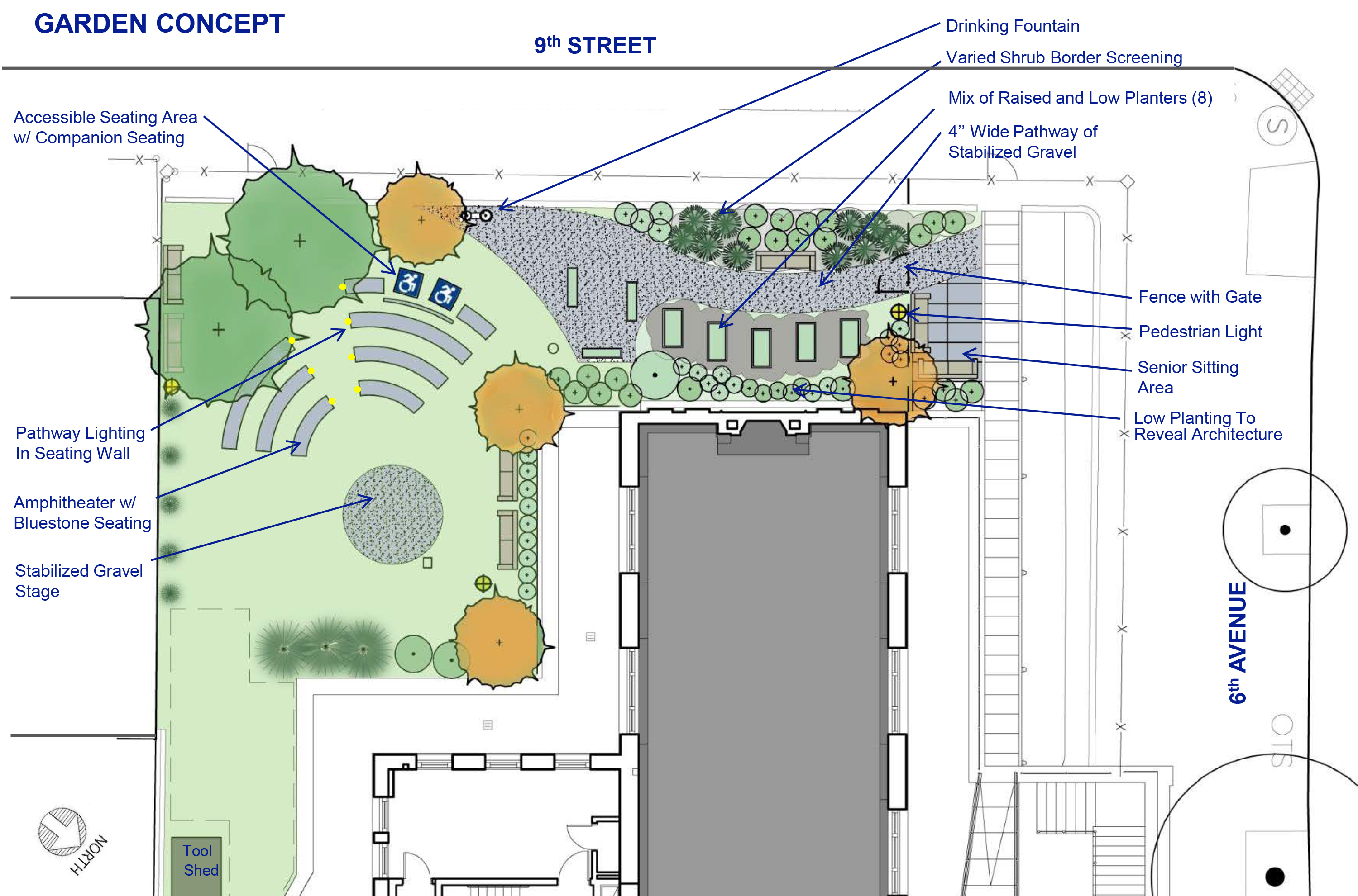 Plan for new landscaping elements at the Brooklyn Public Library's Park Slope branch.