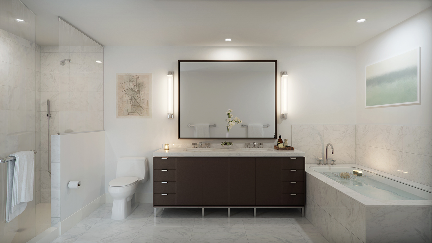 Rendering of a bathroom at 456 Washington Street. Exclusive to YIMBY.