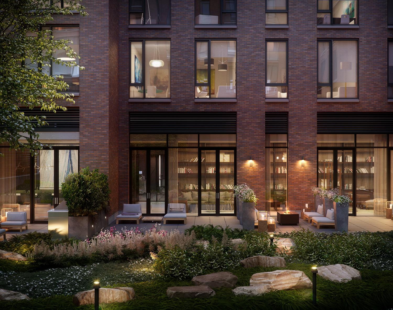 Rendering of the courtyard at 456 Washington Street.