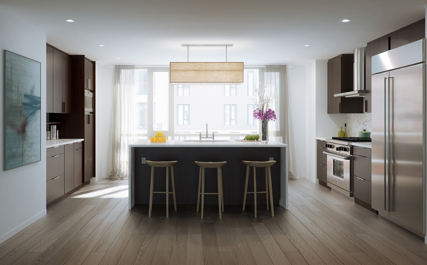 Rendering of a kitchen at 456 Washington Street. Exclusive to YIMBY.