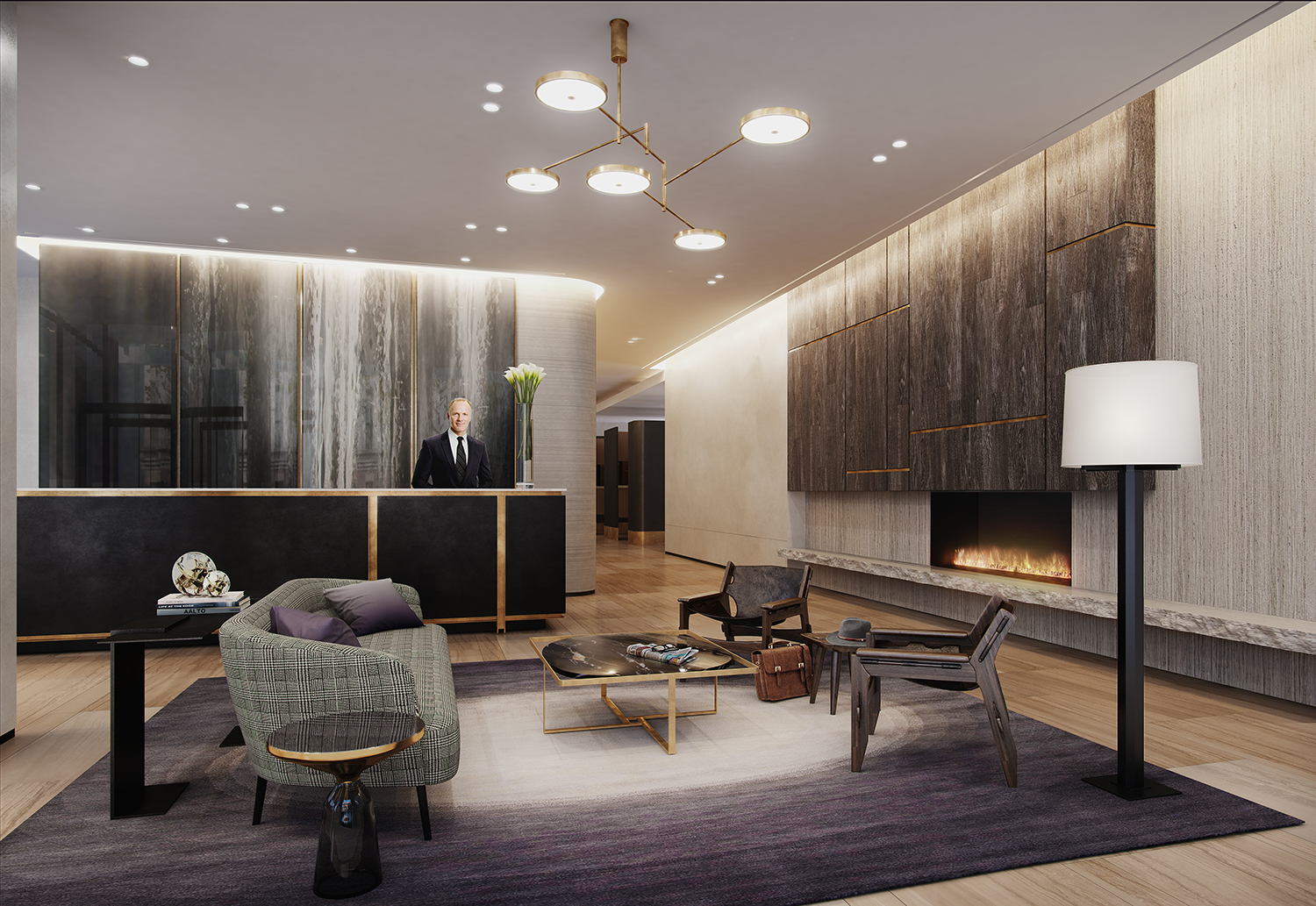 Rendering of the lobby at 456 Washington Street. Exclusive to YIMBY.