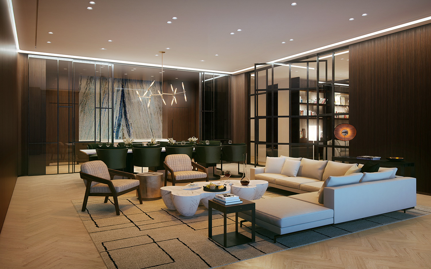 Rendering of the residents lounge at 456 Washington Street. Exclusive to YIMBY.