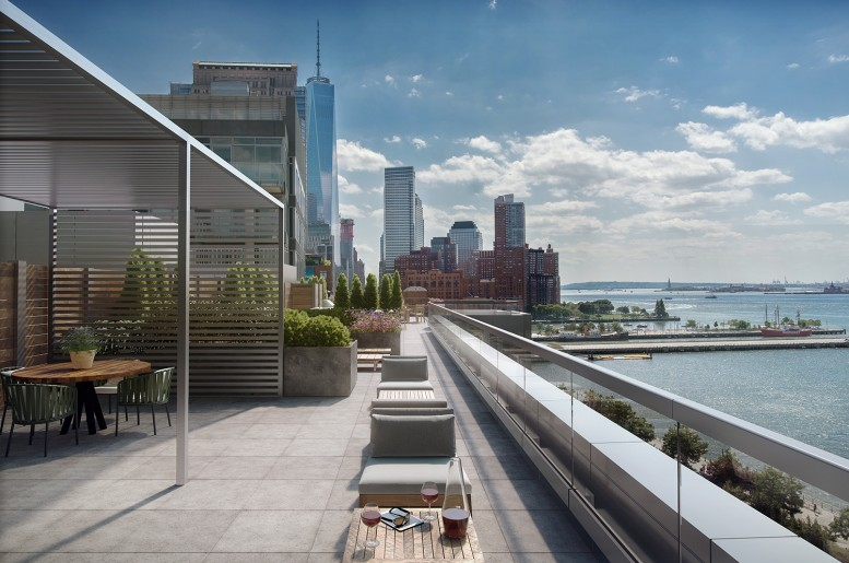 Rendering of the roof view at 456 Washington Street. Exclusive to YIMBY.