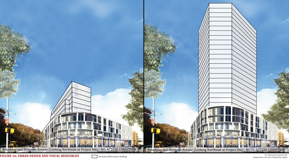4650 Broadway, rendering via Sherman Acadia Ave LLC/DCP