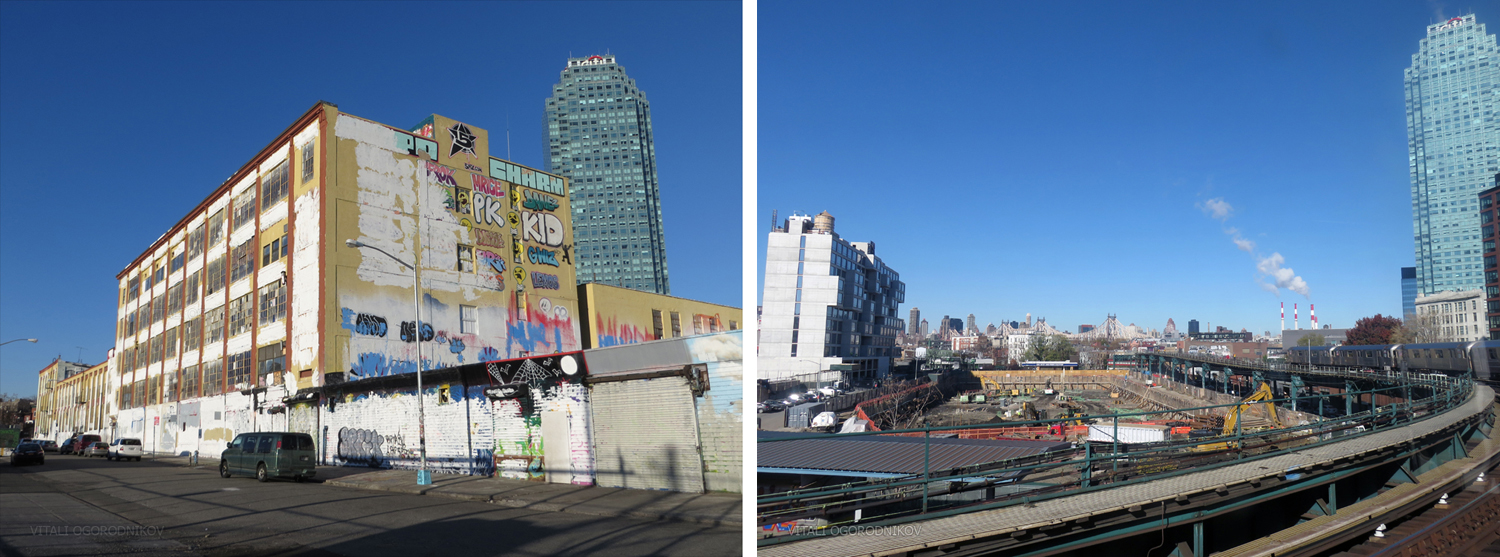 5Pointz. Left: December 2013, looking north from Crane Street. Right: November 2015, looking northwest