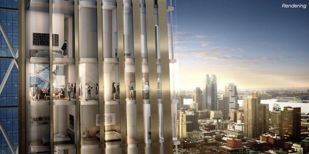 6 Columbus Circle facade closeup, rendering via Cushman and Wakefield
