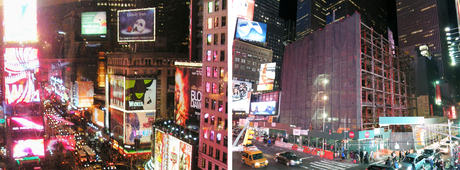 701-Seventh-Avenue-wmark-composite-small; 701 Seventh Avenue. Looking northeast. Left: December 2006 (topped with the Phantom of the Opera billboard). Right: December 2015