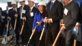 Cindy Xu of China Overseas America (in blue) and Jersey City Mayor Steven Fulop (to her left) at the groundbreaking for 99 Hudson Street.