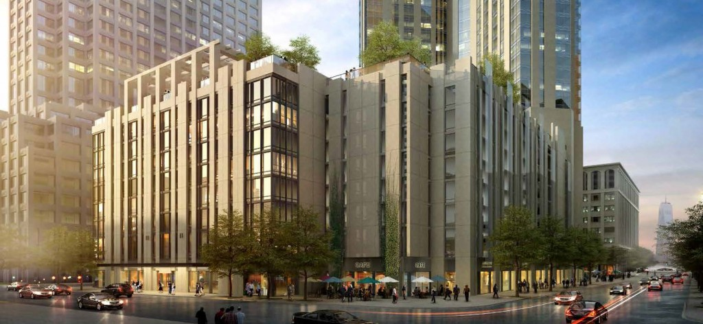 Rendering of 99 Hudson Street, view of Grand and Greene. Via City of Jersey City.