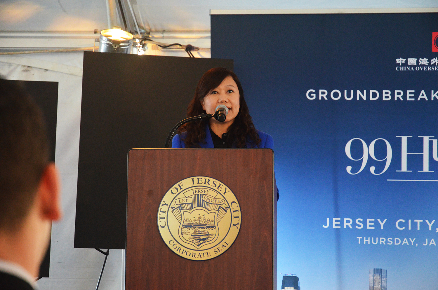 Cindy Xu speaks at the groundbreaking for 99 Hudson Street.
