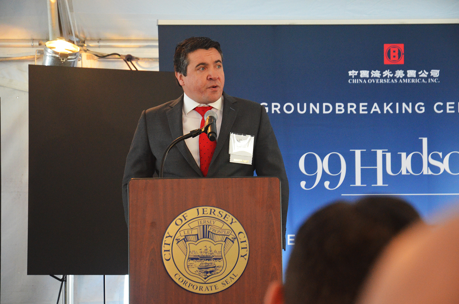 George Garcia speaks at the groundbreaking for 99 Hudson Street.