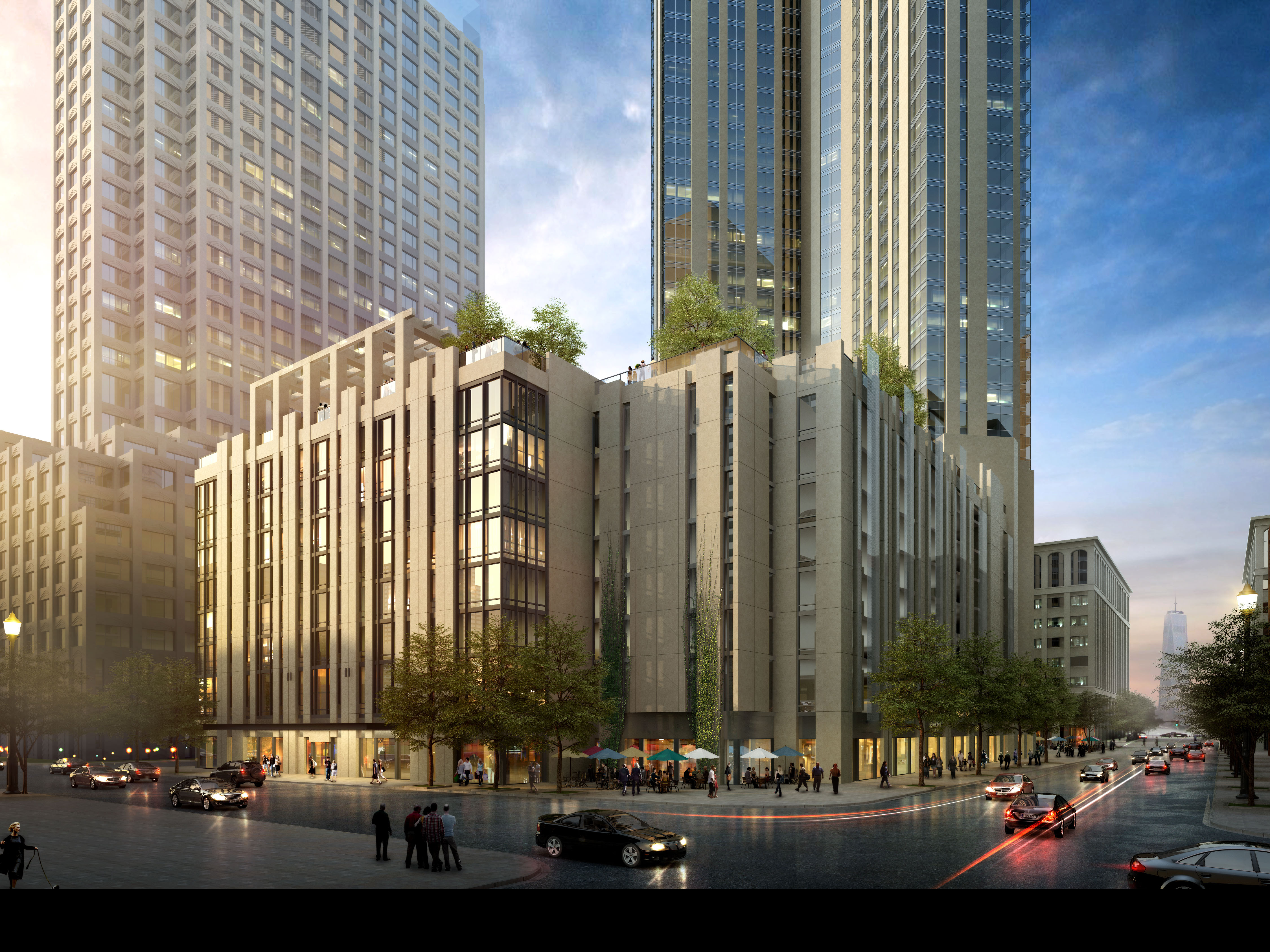 Rendering of 99 Hudson Street in Jersey City, corner of Grand and Greene streets.