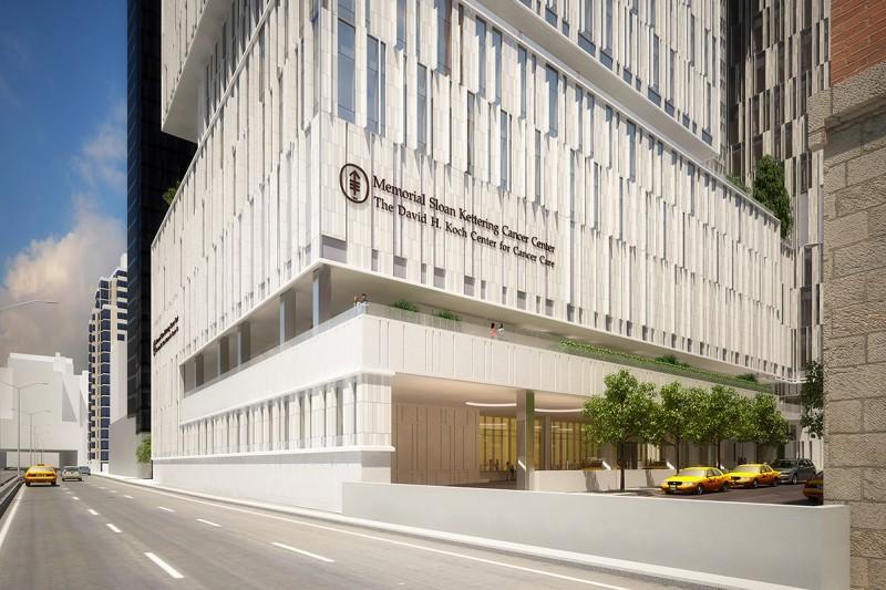 Rendering of Memorial Sloan Kettering's David H. Koch Center for Cancer Care, as seen from the FDR Drive. Via MSKCC.