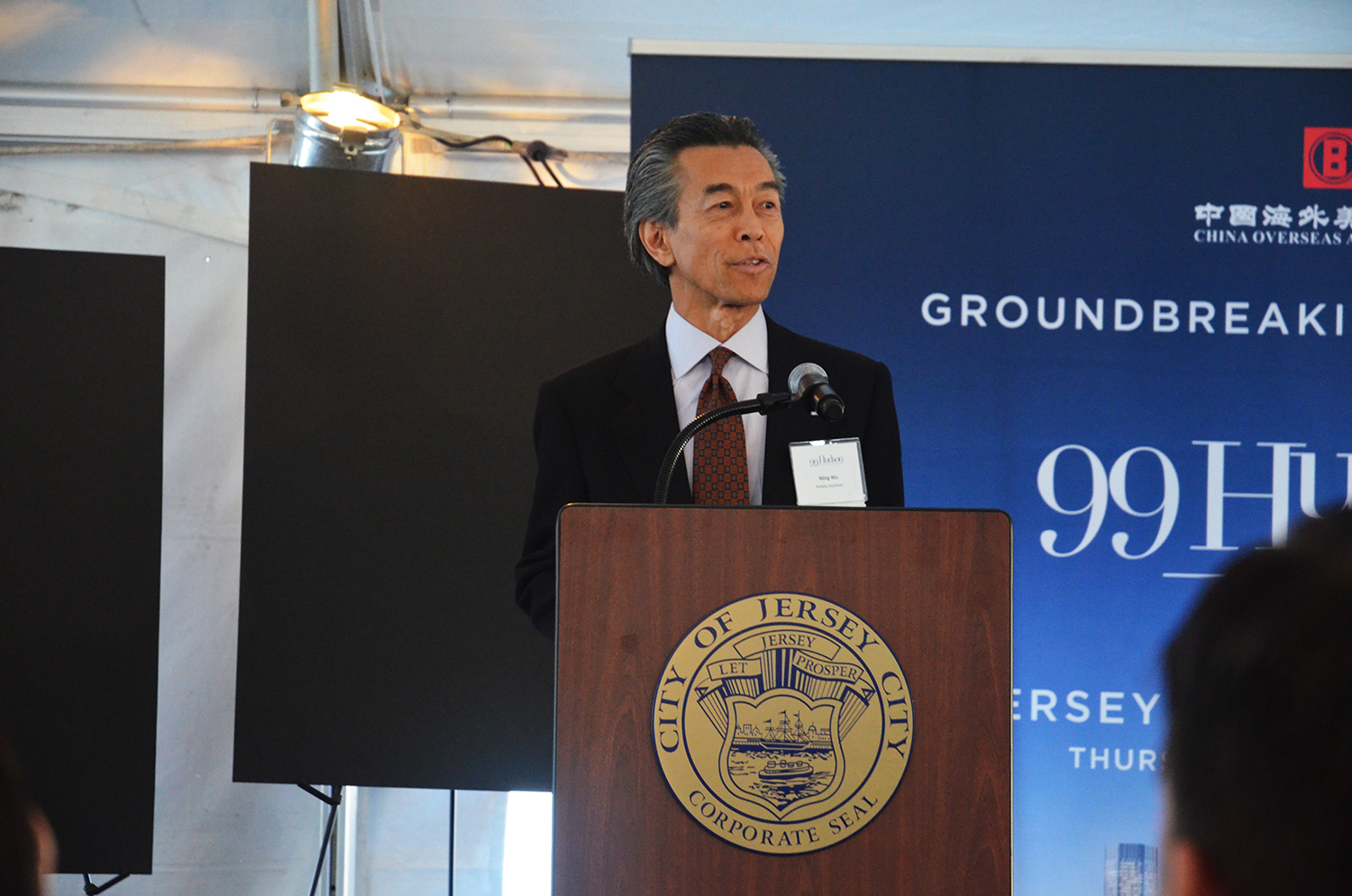 Architect Ming Wu speaks at the groundbreaking for 99 Hudson Street.