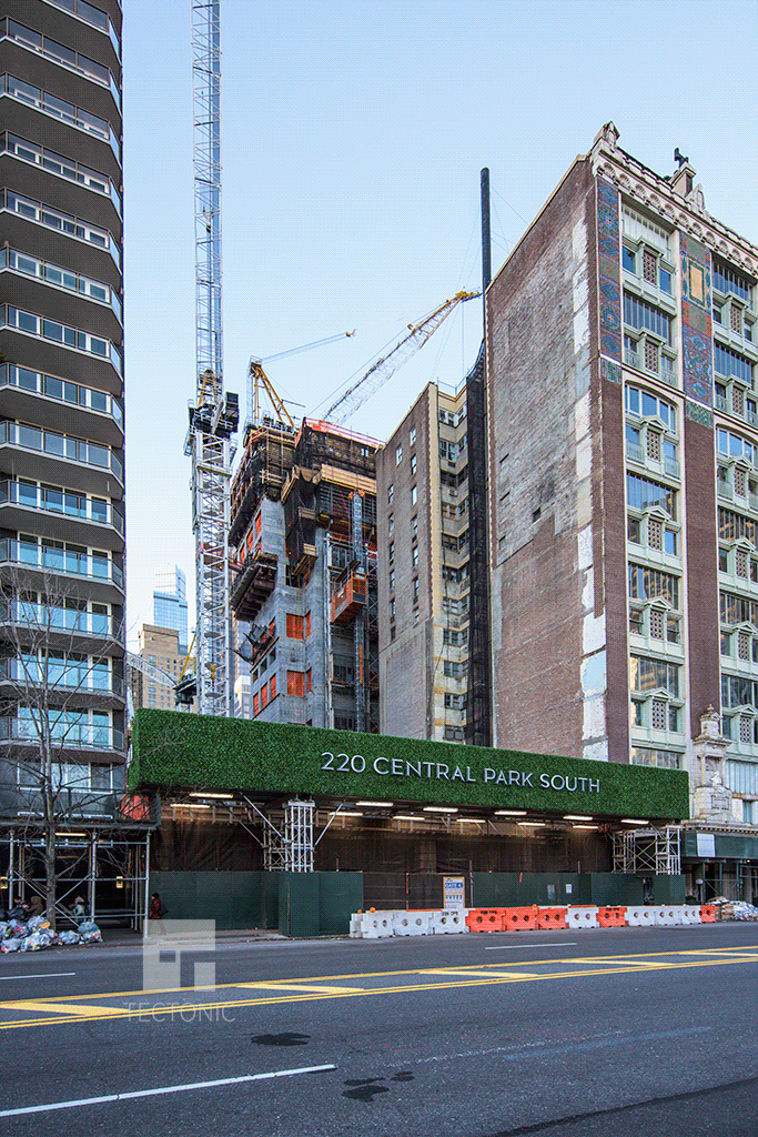 Construction on 220 Central Park South as seen from Central Park South. Photo by Tectonic.