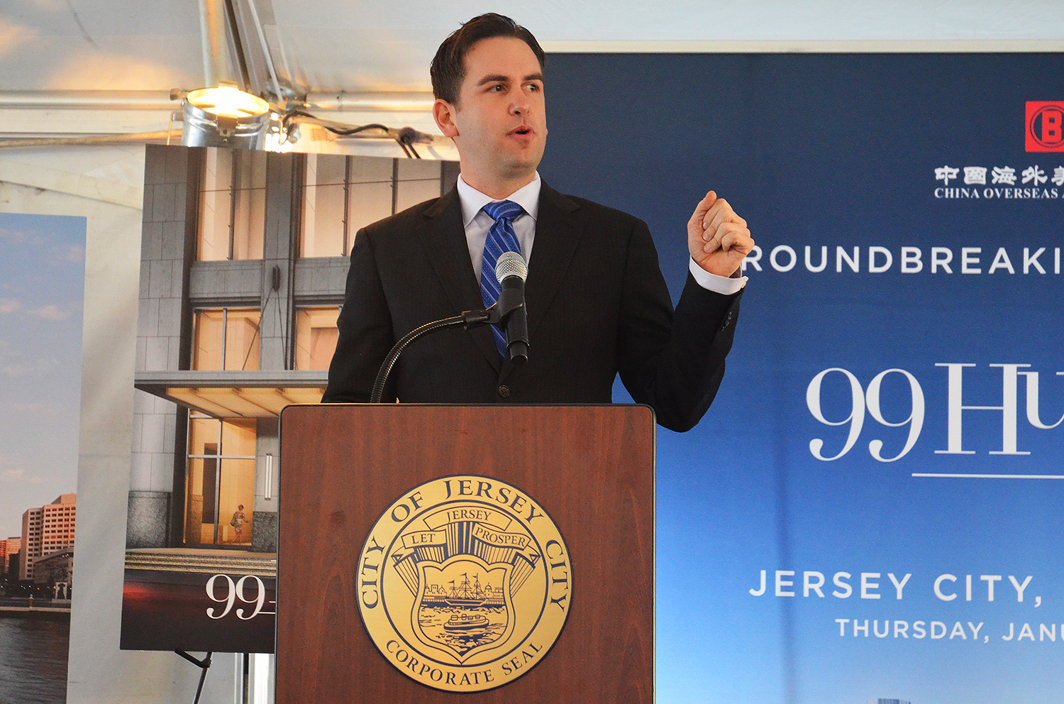 Jersey City Mayor Steven Fulop speaks at the groundbreaking for 99 Hudson Street.