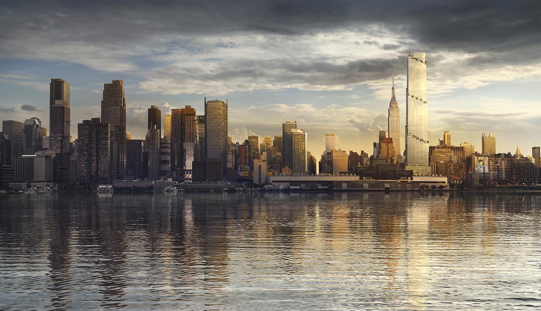 Daylight rendering of the skyline featuring 66 Hudson Boulevard. Credit: BIG/Tishman Speyer.