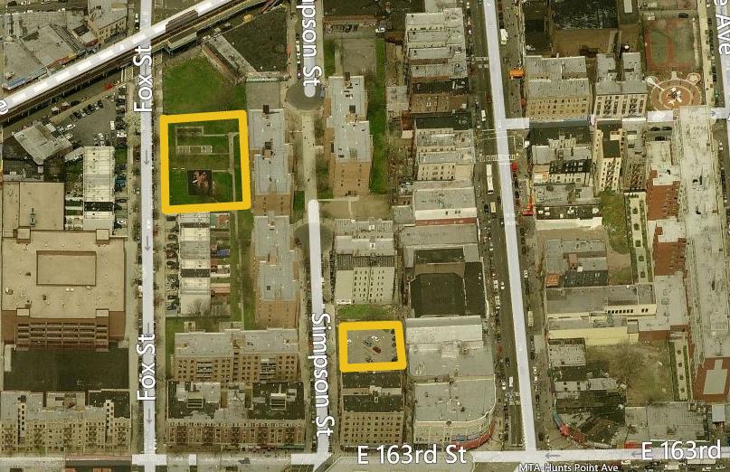 1000 Fox Street and 960 Simpson Street, image via Bing Maps