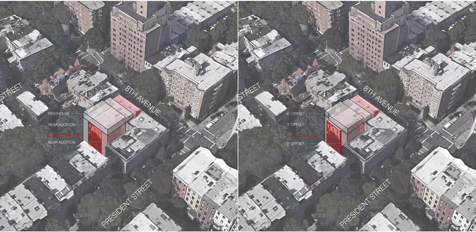 Proposals for 105 8th Avenue, January 5 on the left and February 9 on the right.