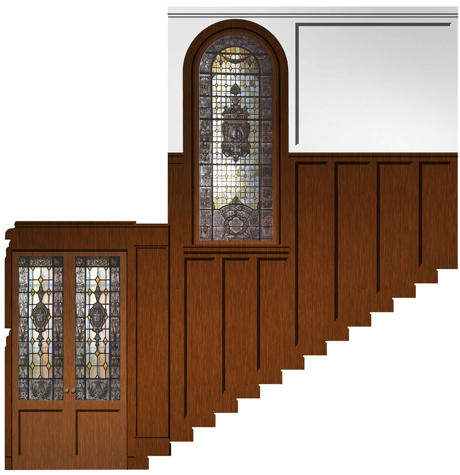 Rendering showing the stained glass windows repurposed on the interior at 105 8th Avenue.
