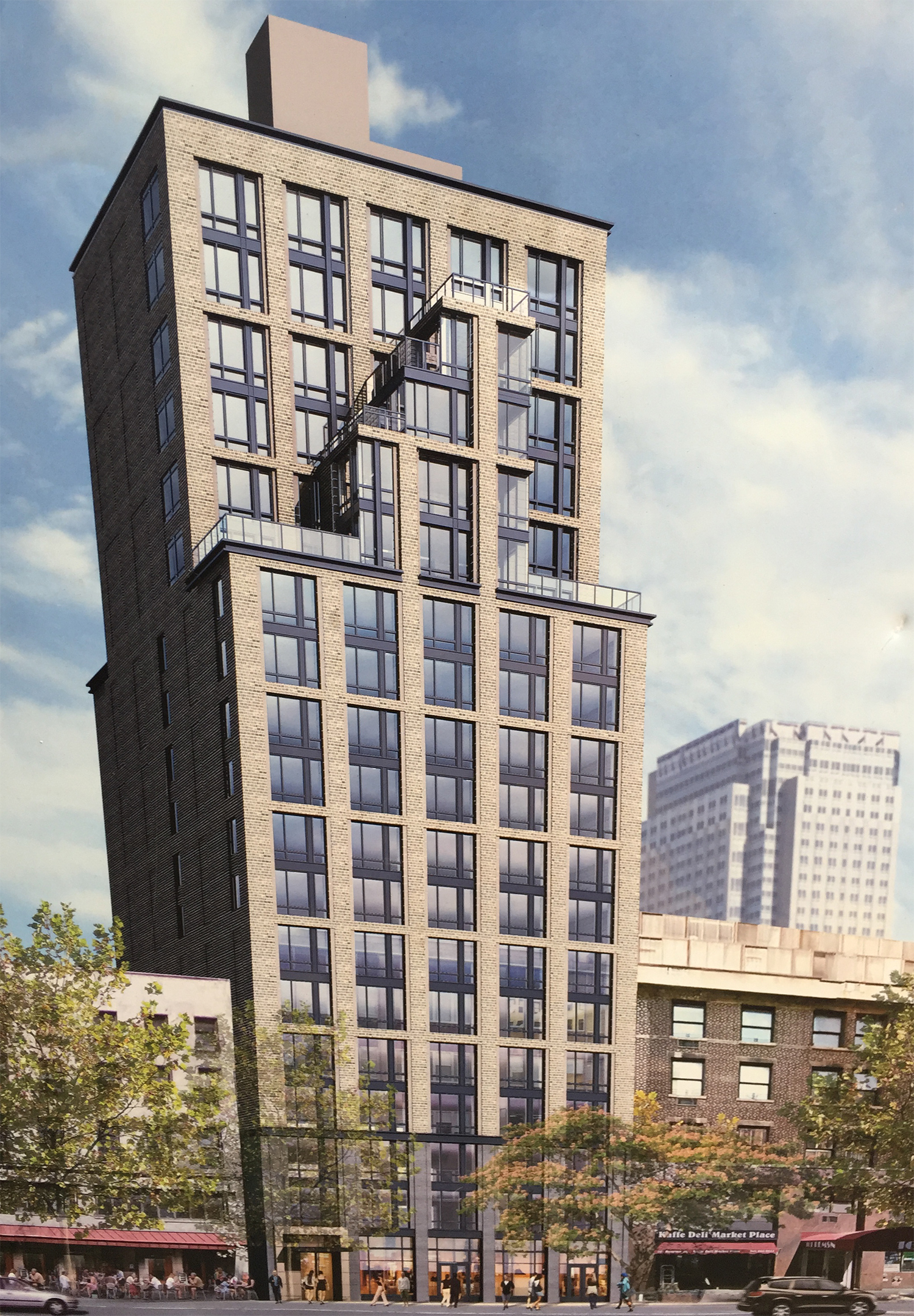 Rendering of 153 Remsen Street posted on-site. Photo by Tectonic.
