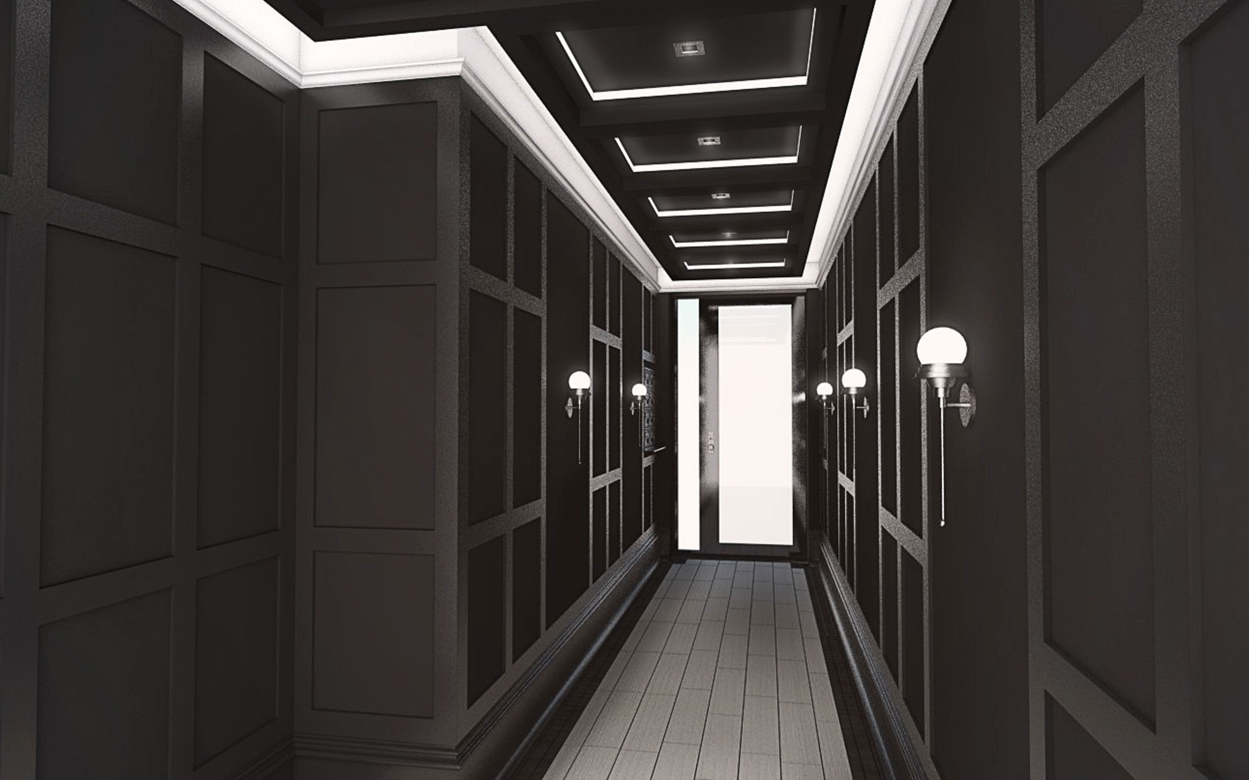 Hallway at 1728 Himrod Street, rendering by Input Creative Studio