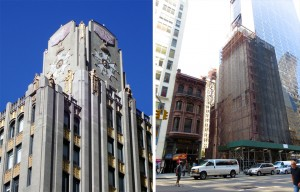 From left to right: Rizzoli Bookstore, 31 West 57th Street; American Piano Company Building, 29 West 57th Street; demolition in January 2016. Photos by the author unless noted othwerise