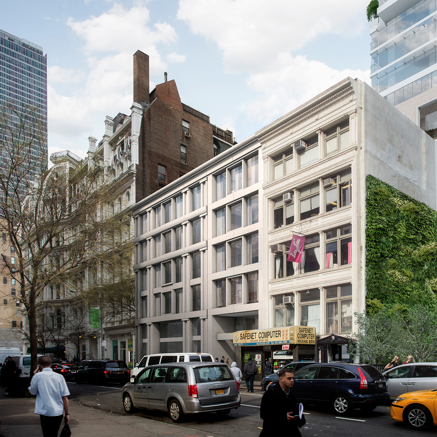Rendering of the row house replacements. The closest building is not part of the project.