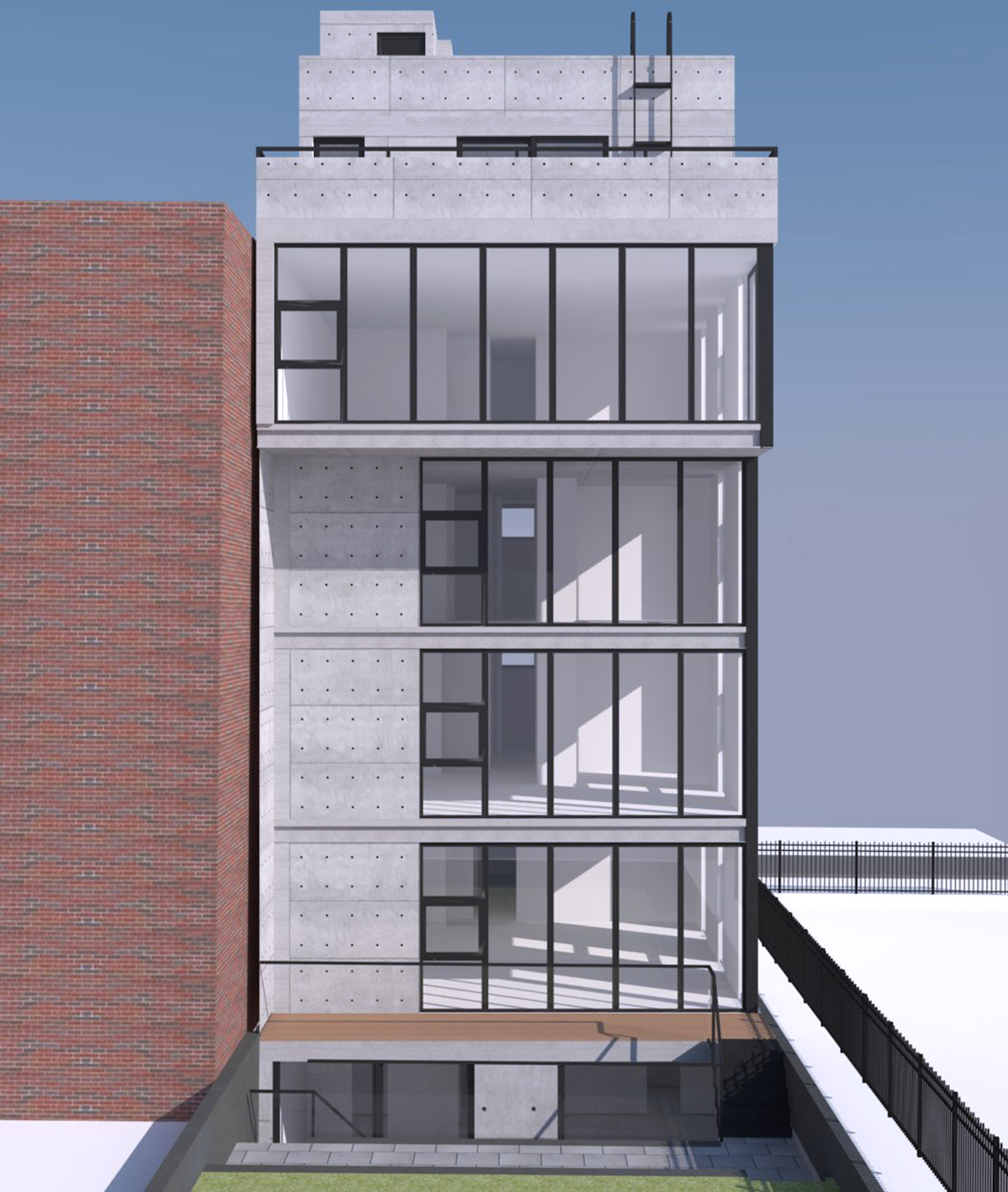Rear view of 371 Baltic Street, rendering by Atelier New York Architecture