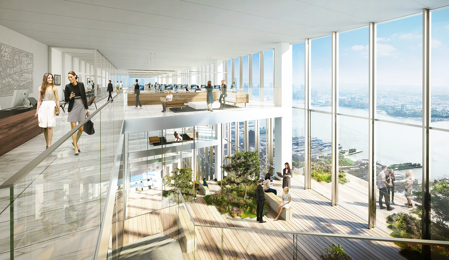 Rendering of 66 Hudson Boulevard showing duplex atriums. Credit: BIG/Tishman Speyer.