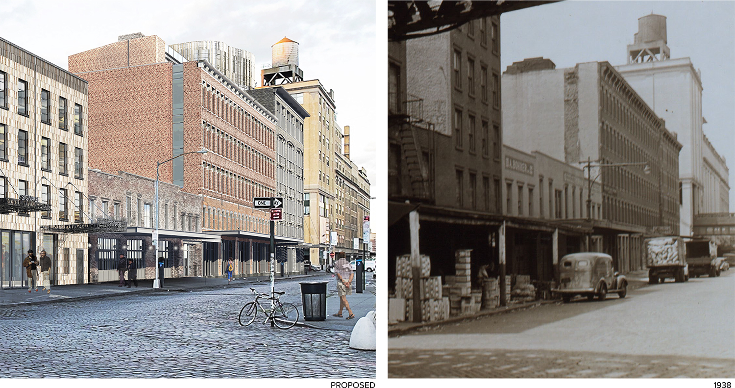 Rendering of 60-68 Gansevoort Street with a photo of it from 1938.