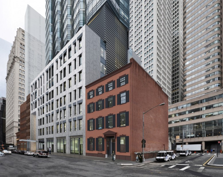 Proposed condition at 67 Greenwich Street with 77 Greenwich Street/42 Trinity Place to the left.