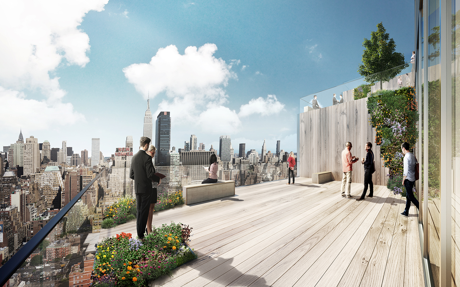 Rendering of 66 Hudson Boulevard showing how the terraces can extend workspaces outdoors. Credit: BIG/Tishman Speyer.