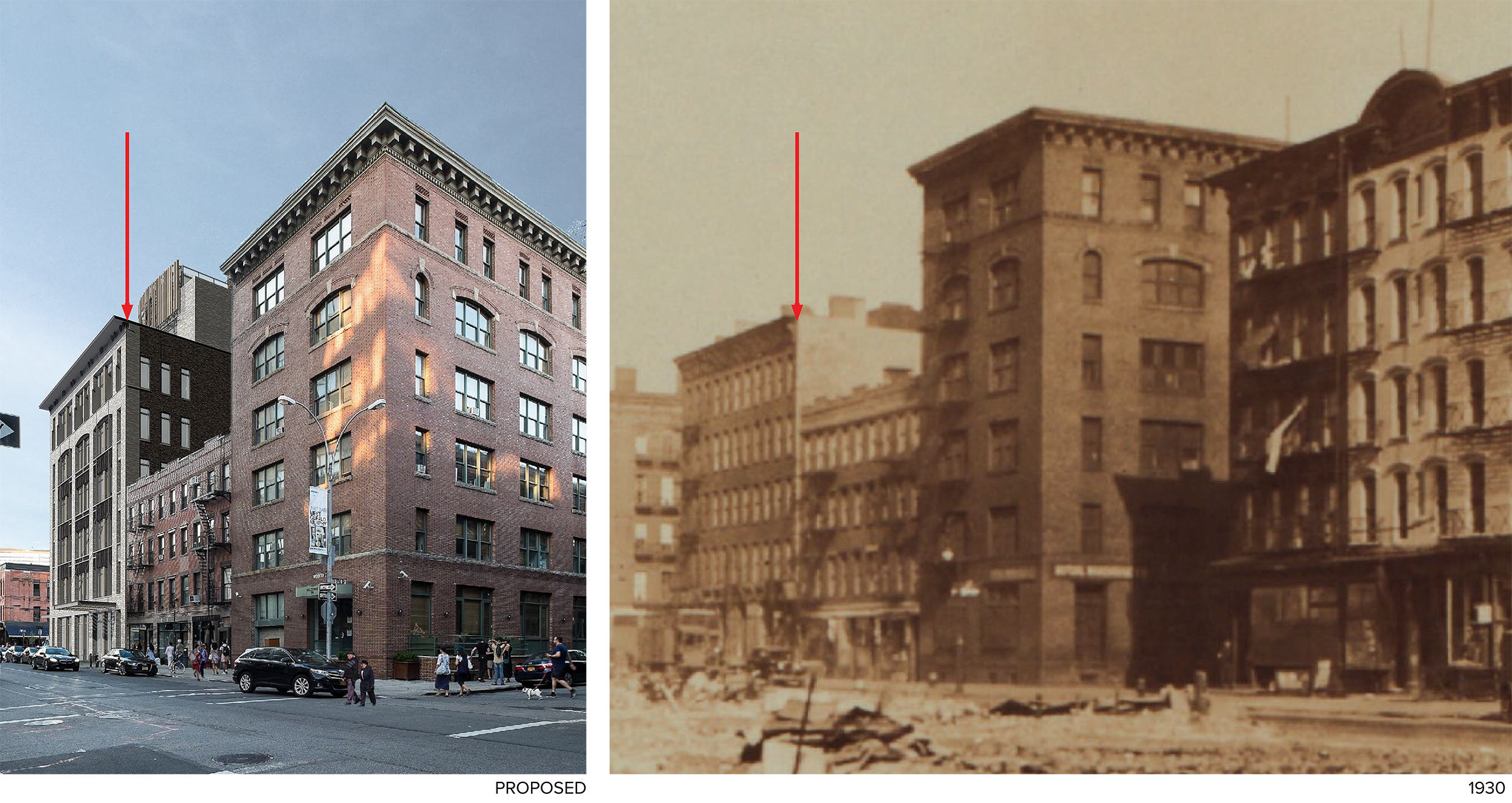 Rendering of 70-74 Gansevoort Street next to a 1930 photo of the site, both viewed from Washington Street.