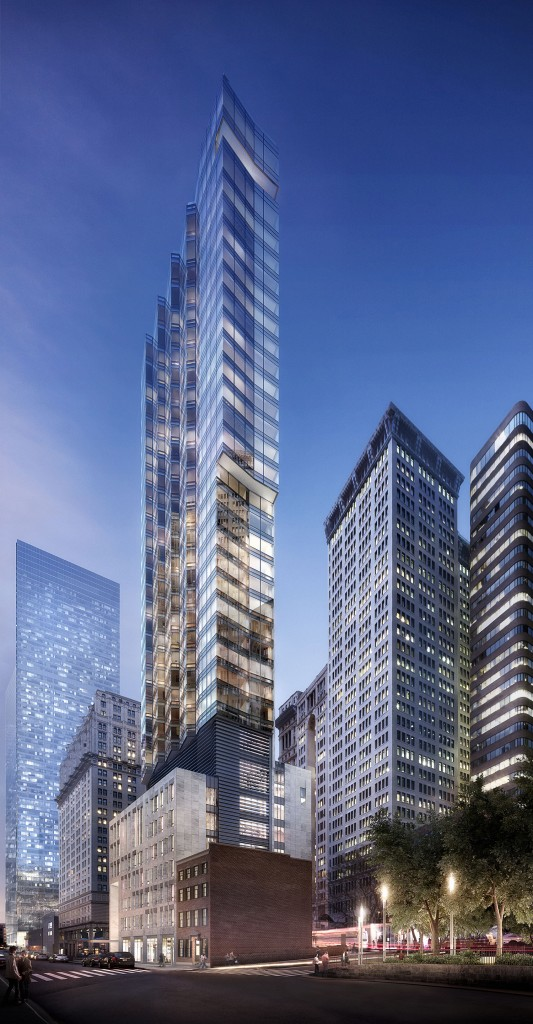 Rendering of the proposed tower at 77 Greenwich Street.